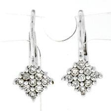 14k White Gold .36ct Round Diamond Cluster Petite Drop Huggie Leverback Earrings