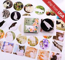 Lot 40 Japanese Cat Kitten Sticker flakes Seal Cute Kawaii DIY Paper Diary Deco