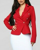 Peplum Stretchy Business Collared Sexy Buttons Classy Red Blazer Jacket Large L