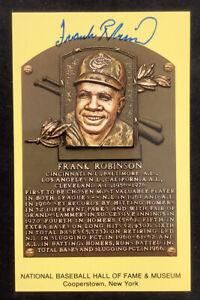 Frank Robinson Signed Gold HOF Plaque Postcard Yellow Cincinnati Autograph JSA