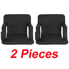 2 Pieces Black Wide Stadium Seat Chair Bleachers Benches - 5 Reclining Positions