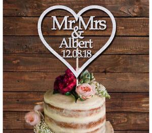 PERSONALISED MR & MRS HEART GLITTER CAKE TOPPER, BRIDE AND GROOM WEDDING DECORA