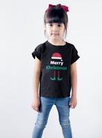 Boys & Girls Youth Toddler Merry Christmas T Shirt Elf T-Shirt Santa Hat Gift