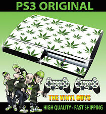 Playstation ps3 original cannabis feuilles blanches weed Mary Jane peau & 2 pad skins