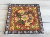 Chain Stitch Ari Work Pillowcase Cover Cushion Kashmir India Floral Embroidery