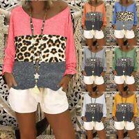Women Plus Size Long Sleeve V-Neck Patchwork Leopard Pullover T-Shirt Blouse Top