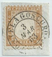 ITALIA 1862 c.10 USATO  SU FRAMMENTO