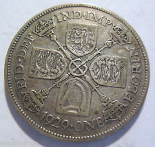 1929 silver ONE FLORIN from England  (#120m)