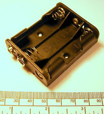 Battery holder for 3 x Aa (Um-3) cells - flat type - stud contacts - black