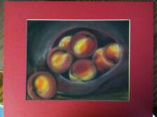 """Vintage Chalk Art Drawing """" Basket Of Peaches / Fruit """" Still Life 11X14 Matted"""