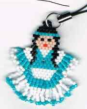 Beaded turquoise Native American Girl cell phone charm