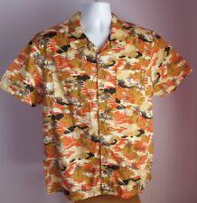VTG Mens Unbranded Brown/Orange Palm Trees Western Style Shirt Size Large (65a)