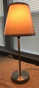 Intertex Table Lamp, Nickel Satin W/ New Shade. In Excellent Condition. LED bulb