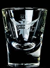 Smirnoff Vodka, shotglas, Stamer, in breve, in vetro bianco satinato