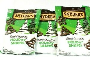 3 Bags Snyder's Of Hanover 5 Oz Dark Chocolate Holiday Shapes Pretzels BB 8/21