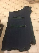 "84"" Navy and green Jack's mfg. Irish knit cooler, new"