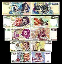 * * * 1.000 - 500.000 Italian Lire - Issue 1990 - 1997 - 5 Banknotes - 01 * * *