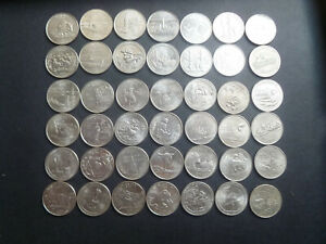 42 different US state quarters