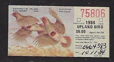 1984 WA Washington State Upland Bird Stamp Hungarian Partridge FV $6.00 Used