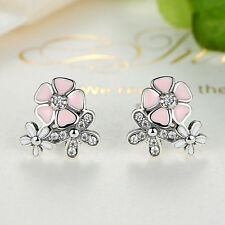 Christmas Gift 925 Sterling Silver Pink Poetic Blooms Stud Earring for Christmas