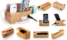 Bamboo Charging Dock Station Stand Holder Cradle For iPhone/iPad/iwatch/headset