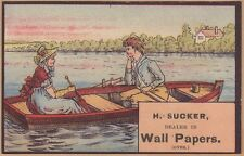 Victorian Trade Card-Herman Sucker-Wallpaper-Detroit, MI-Couple in Boat