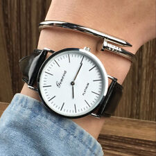 Women Men Casual Luxury Quartz Analog Watch Gold Leather Band Wrist Watches Gift