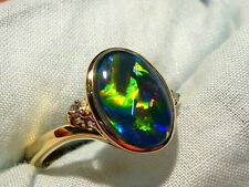 Opal Ring Ladies 14ct Yellow Gold & Diamond 13 x 9mm Oval  Triplet. item 90893.