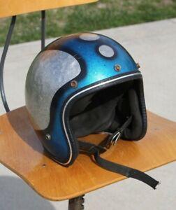 Vintage LSI Motorcycle Helmet Metal Flake Blue Silver Easy Rider Bell Buco Etc