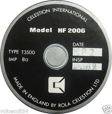 REPLACEMENT DIAPHRAGM Tweeter ROLA CELESTION HF2006 T3500 CELESTION 66 serie 2