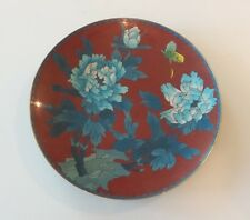 "ANTIQUE CHINESE CLOISONNE on BRASS 9.25"" PLATE / CHARGER, BUTTERFLY & FLOWERS"