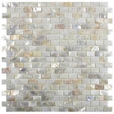 Cream Brick Mother of Pearl Shell Tile for Backsplashes, Showers & More