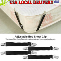 4Pcs Bed Sheet Clip Grippers Holder Straps Mattress Pad Cover Keepers Home US