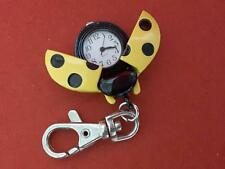 Keychain Yellow Ladybug Lady Bug Beetle Quartz Clip Pocket Watch Key Chain **