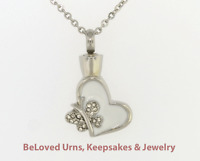 White Heart With Butterfly Cremation Jewelry Pendant Keepsake Urn - Funnel Inc.