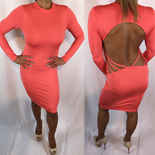 Connie's Long Sleeve Backless low back cut out detail Coral Pink Midi Dress M