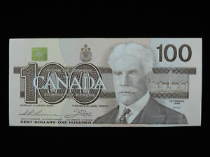 1988 $100 Dollar Bank of Canada Banknote AJS 2932655 Thiessen Crow AU Grade