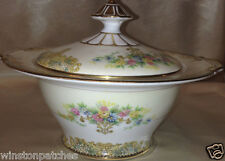 NORITAKE ANCONA SUGAR BOWL & LID 10 OZ FLORAL GOLD TRIM