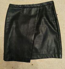 WOMENS BLACK Faux Leather PVC PU MINI SKIRT uk10 us6 eu36 Waist w30ins w76cm