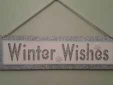 Merry Christmas Winter Wishes Glitter Wall Plaque Sign/ snowflake silver