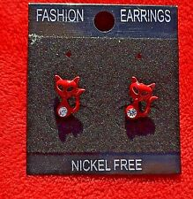 New Silver colour cat stud earrings  assorted colours authentic crystal detail