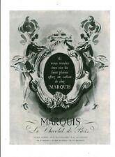 Publicité ancienne Marquis le chocolat de Paris 1950 issue de magazine