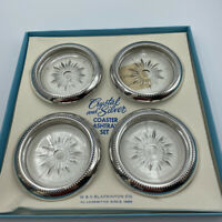 """Vintage W&S Blackinton Co 4"""" Crystal & Silverplate Coaster Set of (4) With Box"""