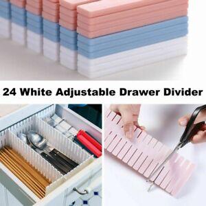 24 x Adjustable Drawer Dividers Organiser Socks Make Up Plastic Separators THICK