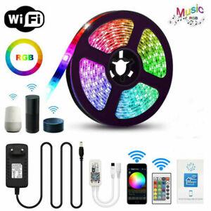 5M SMD 5050 RGB LED Strip light WIFI Alexa 12V 24V RGBW RGBWW tape lamp Full Kit