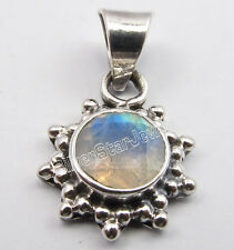 925 Solid Silver ROUND CUT RAINBOW MOONSTONE VINTAGE STYLE GIFT Pendant 0.9 Inch