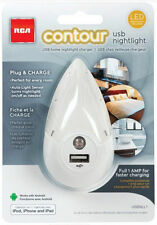 RCA LED Contour Auto Night Light White for Charging USB Devices USA Seller