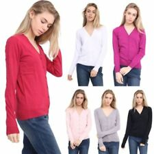Waist Length V Neck Long Sleeve Jumpers & Cardigans for Women