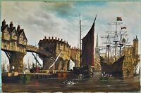 Signed Oil Painting M. Gearing English Harbor Ships Fishing Village Canvas