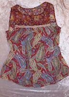 Anthropologie Figueroa & Flower Red Sheer Paisley Boho Sleeveless Blouse Medium